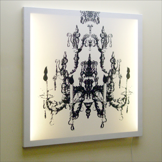 Black and White Delight: Duffy London Black on White Chandelier Print Wall Light :  art chandelier light design