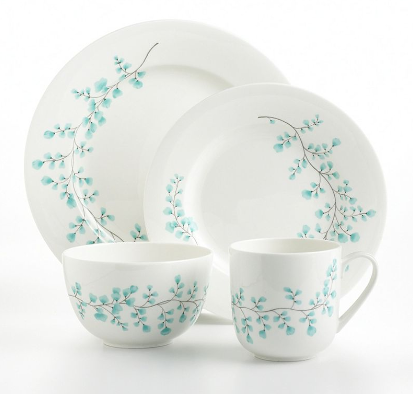 """Maidenhair Fern"" Dinnerware and Serveware in Ocean"