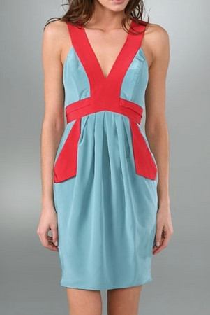 Black Halo Colorblock Sheath Dress