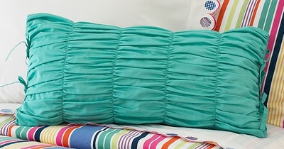 Ruched Lumbar Pillow Cover