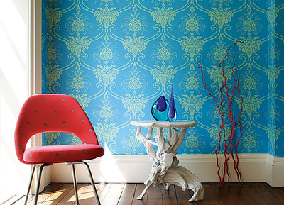Aqua and Red, Damask, Mid-Century, Nature and a healthy floor trim