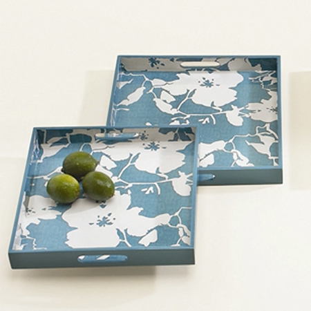 Grayce Floral Wooden Serving Trays (set of 2) in Blue/White