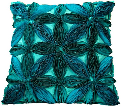 Teal Organza Floral Pillow