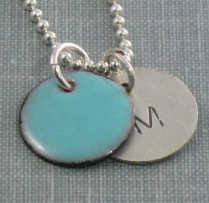Personalized Enamel and Sterling Silver Hand Stamped Pendant