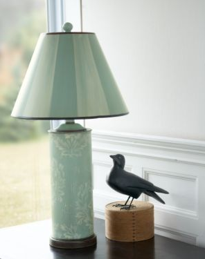 Painted Brocade Column Table Lamp