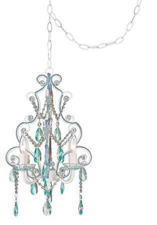 Aqua and Clear Glass Swag Style 4-Light Chandelier