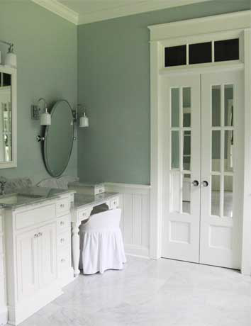 Would love some french doors leading into my future master bath.  Also love the beadboard against the grey walls.