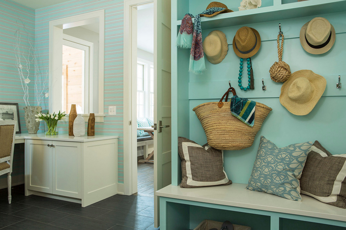 Turquoise Mudroom & Office Space